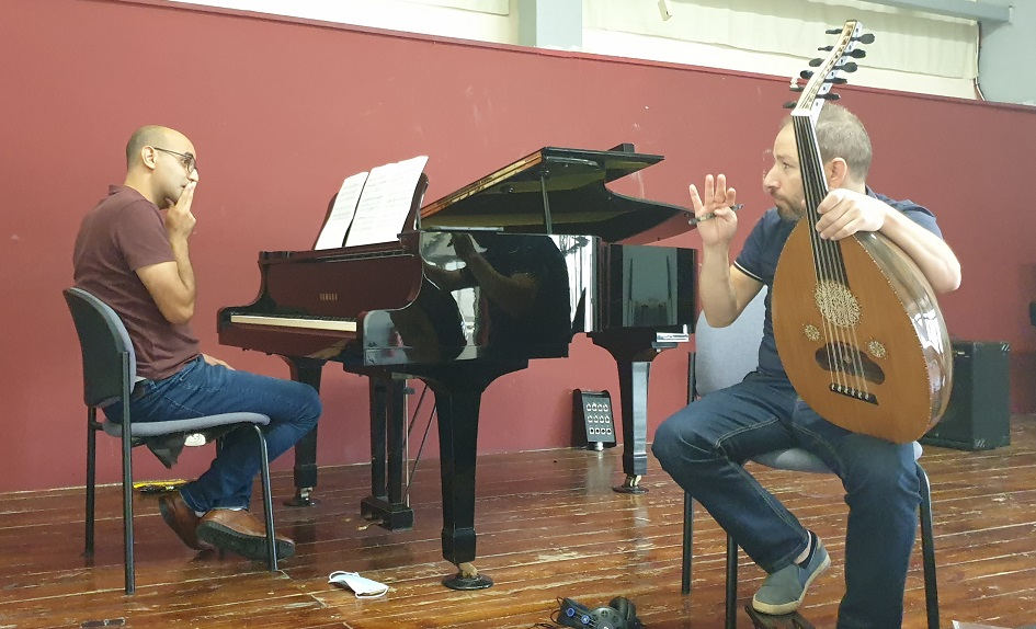 Nizar Ruhana & Fadi Deeb Working on Hopscotch (a piece for oud and piano by Bishara Khell)